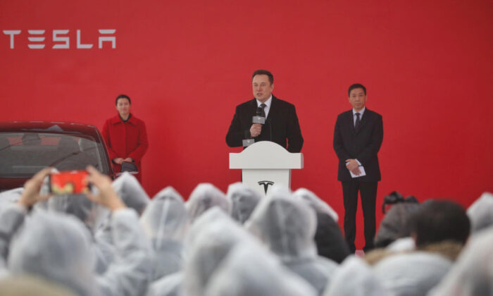 Tesla boss Elon Musk speaks during the ground-breaking ceremony for a Tesla factory in Shanghai on Jan. 7, 2019. (STR/AFP via Getty Images)