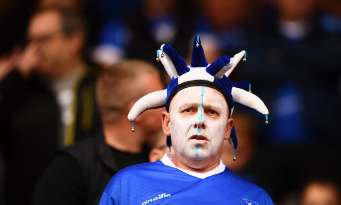 A fan of Hartlepool United looks on ahead of the Vanarama National League Play-Off Final match between Hartlepool United and Torquay United at Ashton Gate in Bristol, England, on June 20, 2021. (Harry Trump/Getty Images)