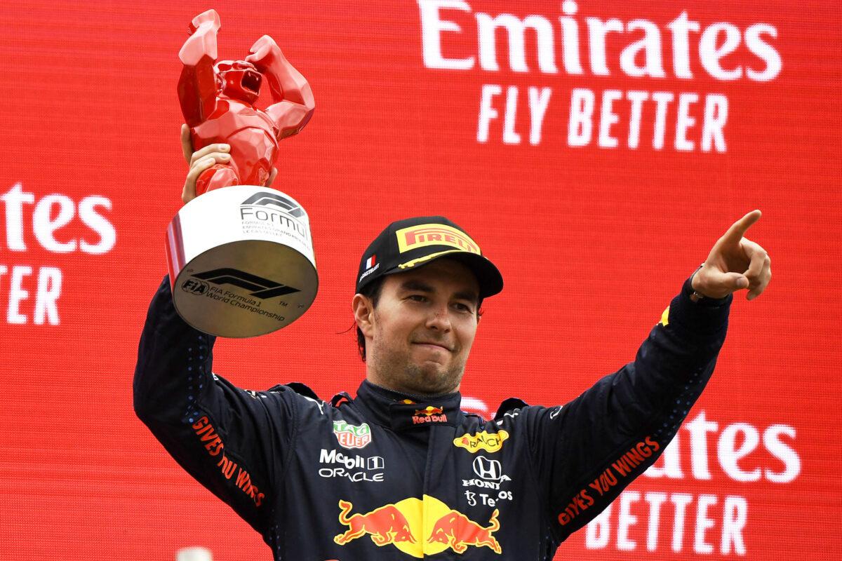 Red Bull driver Sergio Perez of Mexico celebrates