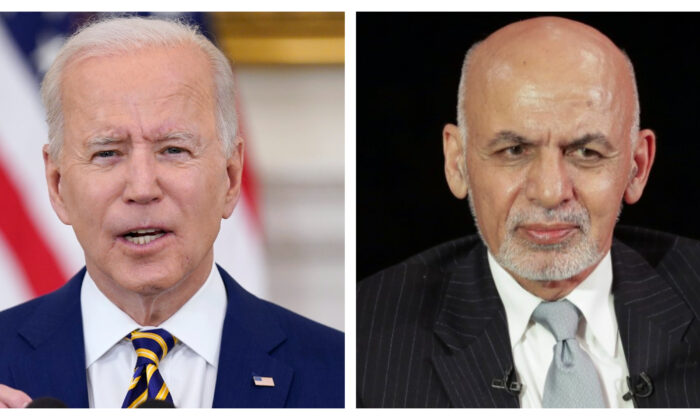 (L) President Joe Biden at the White House on June 18, 2021. (Evan Vucci/AP Photo); (R) Afghanistan's President Ashraf Ghani attends a panel discussion at Asia Society in Manhattan, New York, on Sept. 20, 2017. (Jeenah Moon/Reuters)