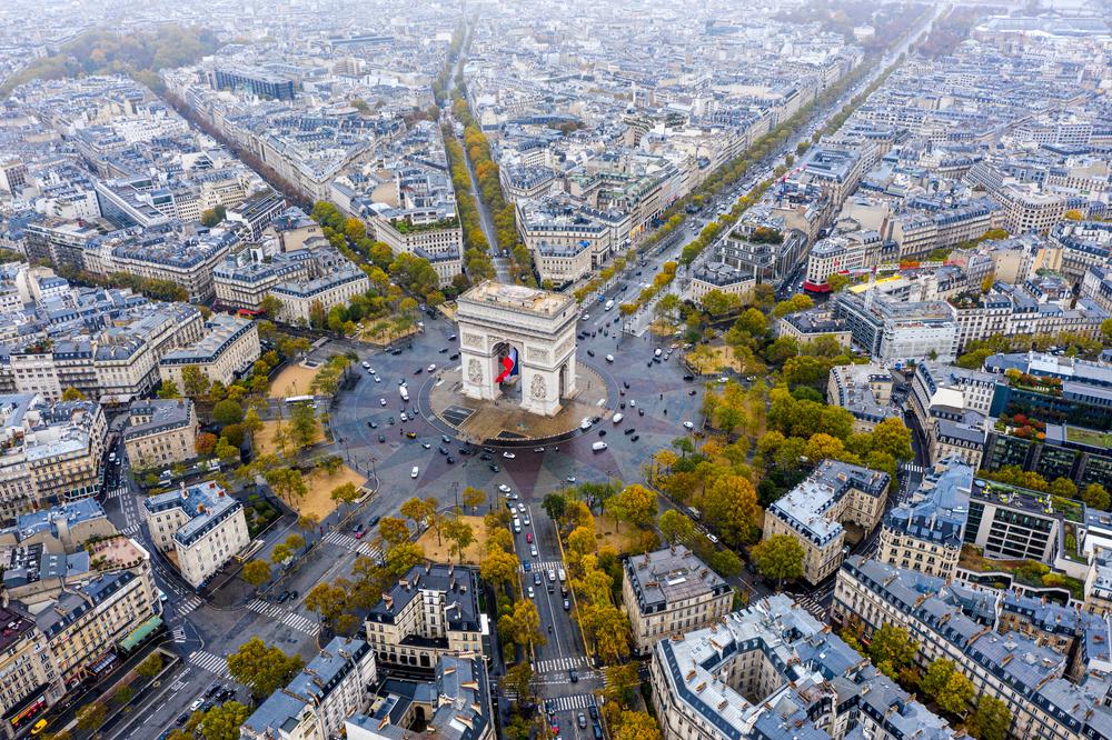 Aerial,View,Of,Arc,De,Triomphe,,Paris