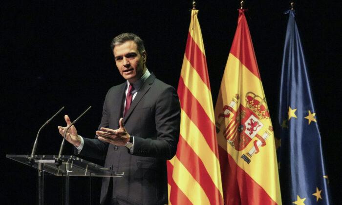 Spain's Prime Minister Pedro Sanchez delivers a speech at the Gran Teatre del Liceu in Barcelona, Spain, on June 21, 2021.  (Emilio Morenatti/AP)