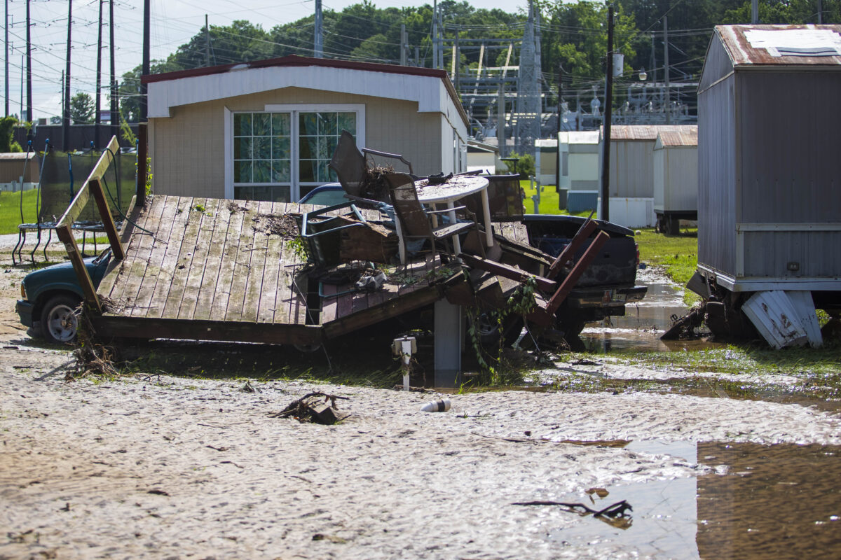 Debris is shown from flooding i