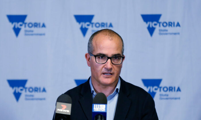 Victorian Acting Premier James Merlino speaks to the media at a press conference on June 18, 2021 in Melbourne, Australia. (Darrian Traynor/Getty Images)