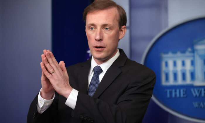 National Security Advisor Jake Sullivan talks to reporters during the daily news conference in the Brady Press Briefing Room at the White House in Washington on June 7, 2021. (Chip Somodevilla/Getty Images)
