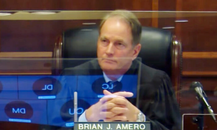 In this screenshot from video, Henry County Superior Court Judge Brian Amero is seen during a hearing on June 21, 2021. (Henry County via NTD)