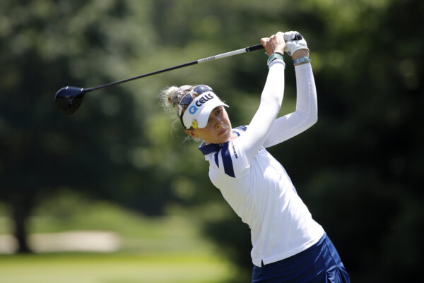 Nelly Korda hits a tee shot