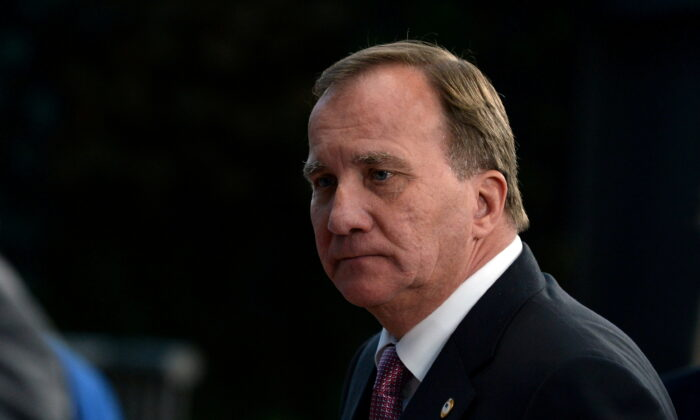 Swedish Prime Minister Stefan Lofven leaves a meeting at the EU summit, in Brussels, Belgium, on July 21, 2020. (Johanna Geron/Pool via Reuters)