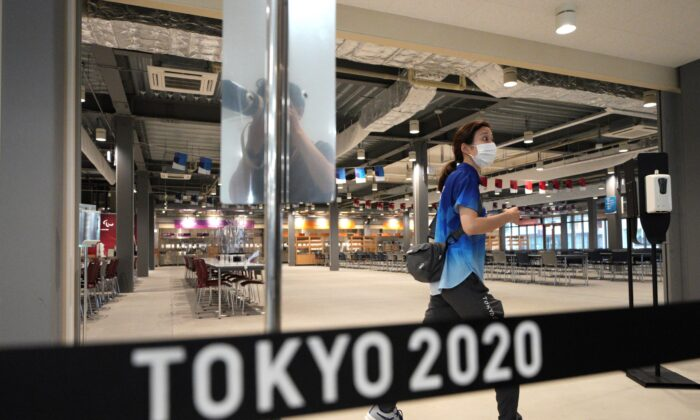 The main dining hall is seen during a press tour of the Tokyo 2020 Olympic and Paralympic Village in Tokyo, on June 20, 2021. (Eugene Hoshiko/AP Photo)