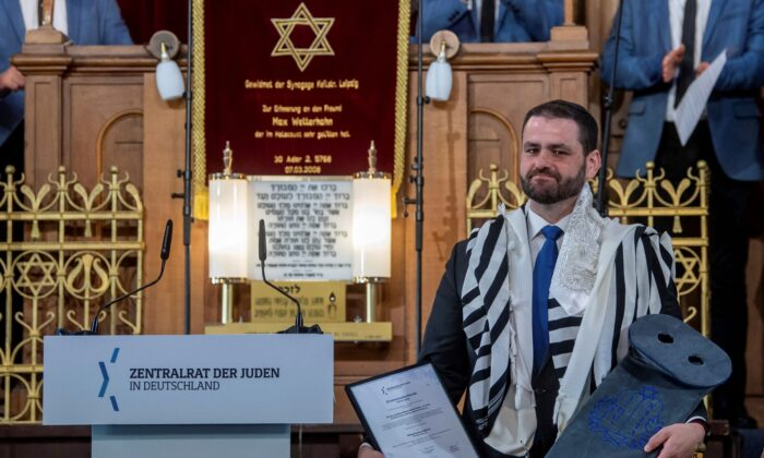 Zsolt Balla, State Rabbi of Saxony, stands in the synagogue in Leipzig, Germany on June 21, 2021, after his induction into the office of Military Rabbi of the Armed Forces. (Hendrik Schmidt/dpa via AP)