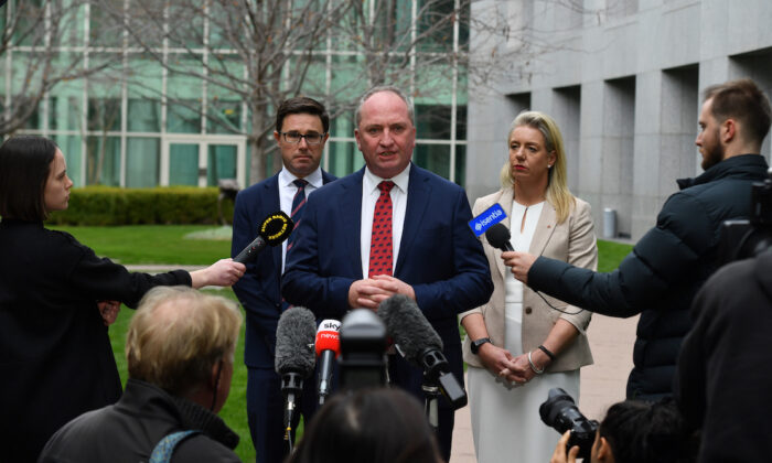 Australia's Minister for Agriculture David Littleproud, Nationals member for New England Barnaby Joyce, and Nationals Senator Bridget McKenzie, at a press conference after a Nationals party room meeting at Parliament House in Canberra, Australia, on June 21, 2021. (AAP Image/Mick Tsikas)