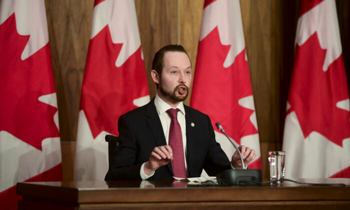 Conservative MP Michael Cooper speaks at a press conference in Ottawa on Feb. 26, 2021. (The Canadian Press/Sean Kilpatrick)