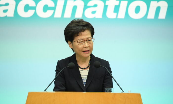 Hong Kong leader Carrie Lam speaks during a press conference in Hong Kong on June 22, 2021. (Bill Cox/The Epoch Times)