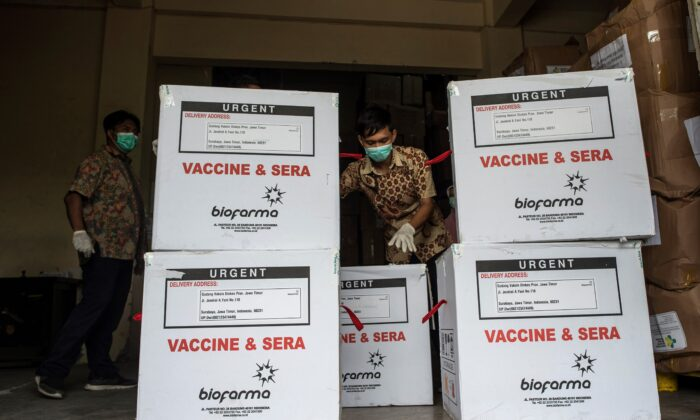 A health worker checks the containers of Covid-19 vaccine produced by China's Sinovac, as they arrived in Surabaya, a city in Indonesia, on Jan. 13, 20210. Juni Kriswanto/AFP via Getty Images)