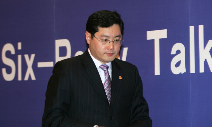 Then-Chinese Foreign Ministry spokesman Qin Gang at a press brief in Beijing on Feb. 10, 2007. (China Photos/Getty Images)