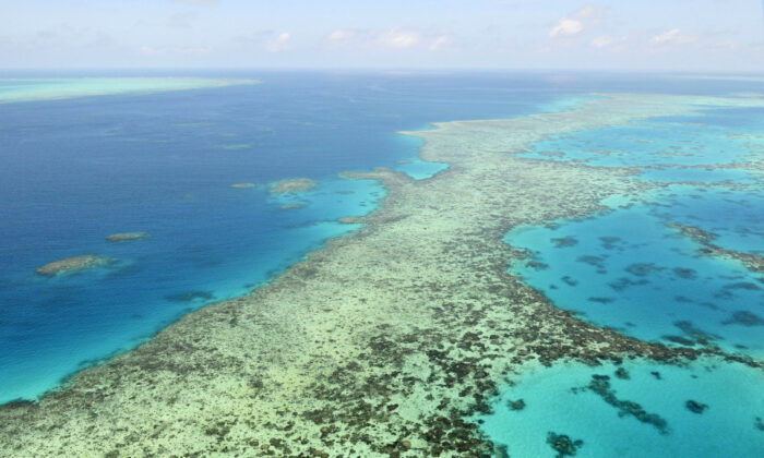 This aerial photo shows the Great Barrier Reef in Australia, on Dec. 2, 2017. (Kyodo News via AP)