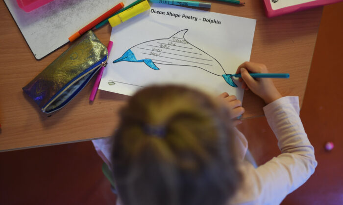A Year 1 pupil colours a dolphin poetry worksheet while respecting social distancing rules in a classroom during a lesson at the College Francais Bilingue De Londres French-English bilingual school in north London on June 2, 2020. (Daniel Leal-Olivas/AFP via Getty Images)