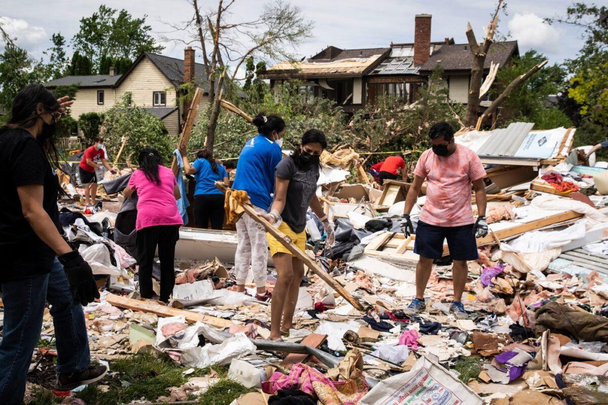 volunteers help clean up