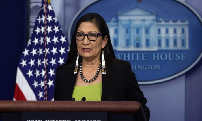 Secretary of the Interior Deb Haaland speaks during a daily press briefing at the James Brady Press Briefing Room of the White House in Washington, on April 23, 2021. (Alex Wong/Getty Images)