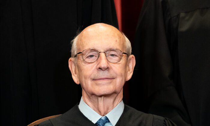 Associate Justice Stephen Breyer during a group photo of the justices at the Supreme Court in Washington on April 23, 2021. (Erin Schaff-Pool/Getty Images)