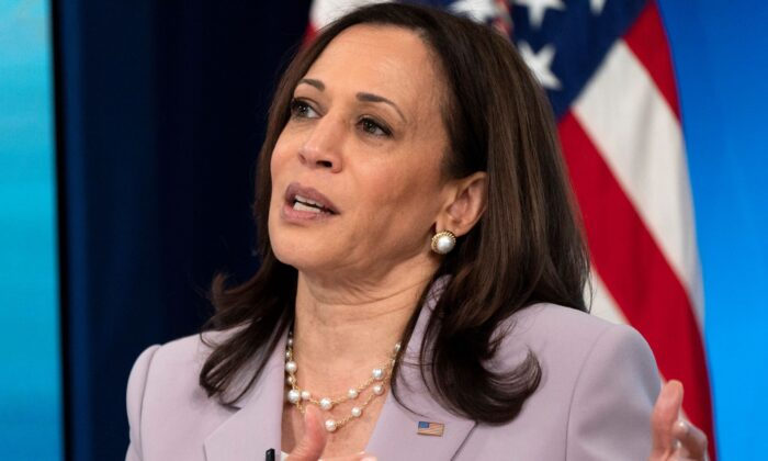 Vice President Kamala Harris speaks from the South Court Auditorium on the White House complex in Washington,  D.C., on June 23, 2021. (Jacquelyn Martin/AP Photo)