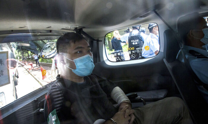 Hong Kong defendant Tong Ying-Kit arrives at court in Hong Kong on July 6, 2020. (Getty Images)