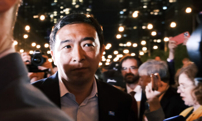 Mayoral candidate Andrew Yang greets supporters at a Manhattan hotel as he concedes in his campaign for mayor in New York City, on June 22, 2021. (Spencer Platt/Getty Images)