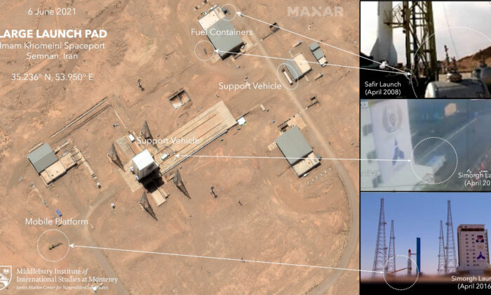 This satellite image  shows preparation at the Imam Khomeini Spaceport in Iran's Semnan province, before what experts believe was the launch of a satellite-carrying rocket, Iran, on June 6, 2021. (©2021 Maxar Technologies, James Martin Center for Nonproliferation Studies at Middlebury Institute of International Studies via AP)