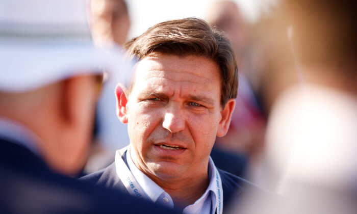 Florida Gov. Ron DeSantis at a flag raising ceremony in Juno Beach, Florida, on May 7, 2021. (Cliff Hawkins/Getty Images)