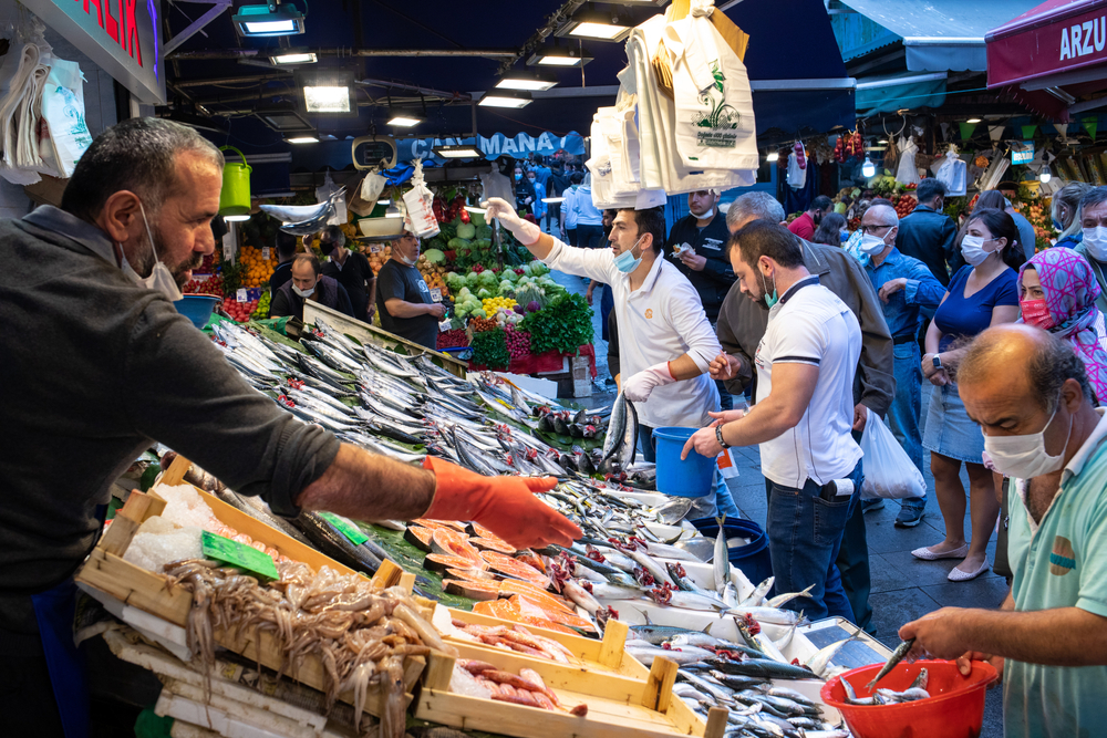 Crowded,View,From,Kadikoy,Fish,Market,During,Coronavirus,Pandemic.,Historical