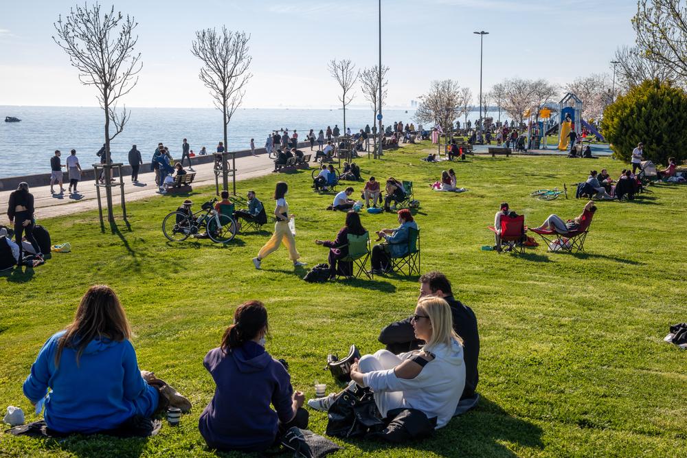 People,Enjoying,Beautiful,Day,And,Sun,On,Bostanci,Coasts,During