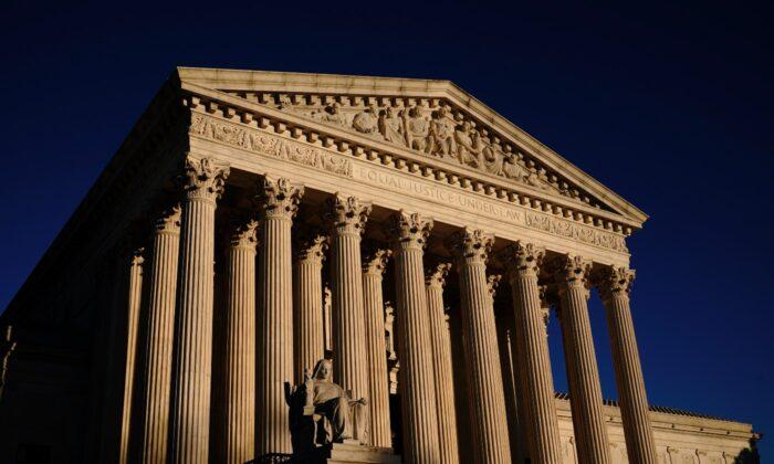 The Supreme Court is seen at sundown in Washington on Nov. 2, 2020. (J. Scott Applewhite/AP Photo)