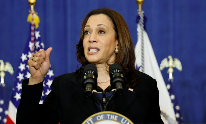 Vice President Kamala Harris gestures as she delivers remarks in Pittsburgh, Pa., on June 21, 2021. (Jonathan Ernst/Reuters)