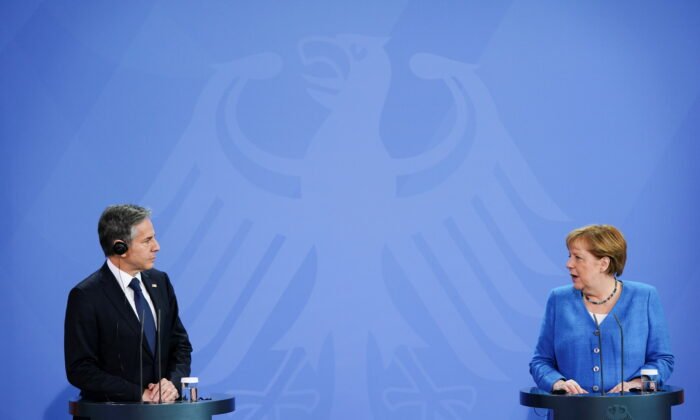 German Chancellor Angela Merkel and U.S. Secretary of State Antony Blinken hold a joint news conference at the Chancellery in Berlin on June 23, 2021. (Clemens Bilan/Pool via Reuters)