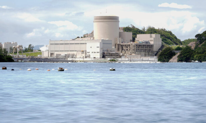 The No. 3 reactor of the Mihama Nuclear Power Plant operated by Kansai Electric Power Co. is seen in Mihama town, Fukui prefecture, central Japan, on June 23, 2021. (Kyodo News via AP)