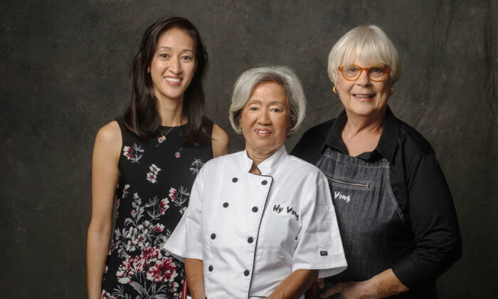 """(From L to R) Phuong Lien (Lyn) Nguyen, Tung Nguyen, and Kathy Manning, the women at the heart of Hy Vong, and co-authors with Elisa Ung of the recently published memoir, """"Mango and Peppercorns."""" (Photo by Libby Volgyes/Courtesy of Chronicle Books)"""