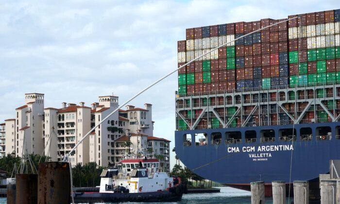 The CMA CGM Argentina arrives at PortMiami, Fla., on April 6, 2021. (Lynne Sladky/AP Photo)
