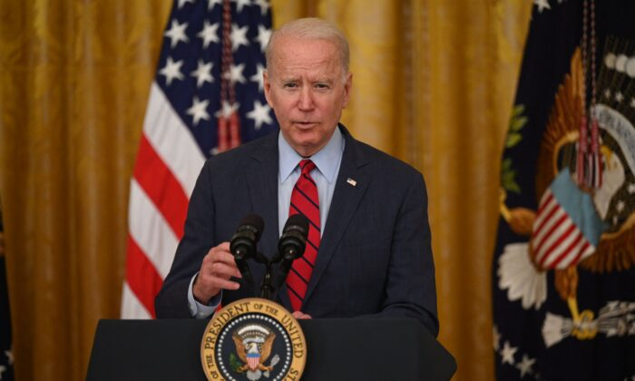 President Joe Biden,  speaks about the infrastructure deal from the East Room of the White House on June 24, 2021. (Jim Watson/AFP via Getty Images)