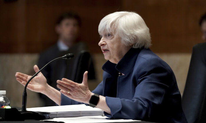 Treasury Secretary Janet Yellen testifies before a Senate Appropriations Subcommittee hearing in Washington, on June 23, 2021. (Greg Nash/Pool via AP)