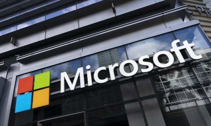 The Microsoft logo is seen on a building in New York in this file photo taken on May 6, 2021. (Mark Lennihan/AP Photo)