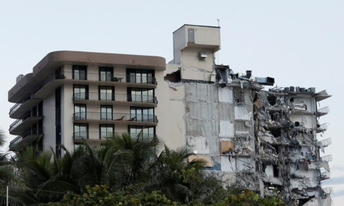 A building that partially collapsed is seen in Surfside, Fla., on June 24, 2021. (Marco Bello/Reuters)