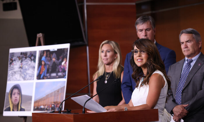 Rep. Lauren Boebert (R-Colo.) speaks during a press conference at the U.S. Capitol in Washington, on June 23, 2021. (Win McNamee/Getty Images)