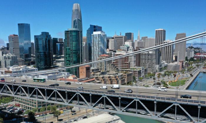 Traffic crosses the San Francisco-Oakland Bay Bridge in San Francisco, California, on June 14, 2021. (Justin Sullivan/Getty Images)