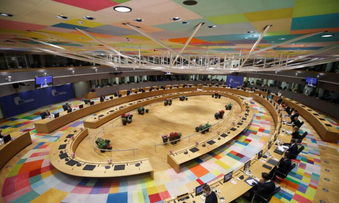 A general view at start of a European Union leaders meeting on the first day of the EU summit, in Brussels, Belgium, on June 24, 2021. (Olivier Hoslet/Pool via Reuters)