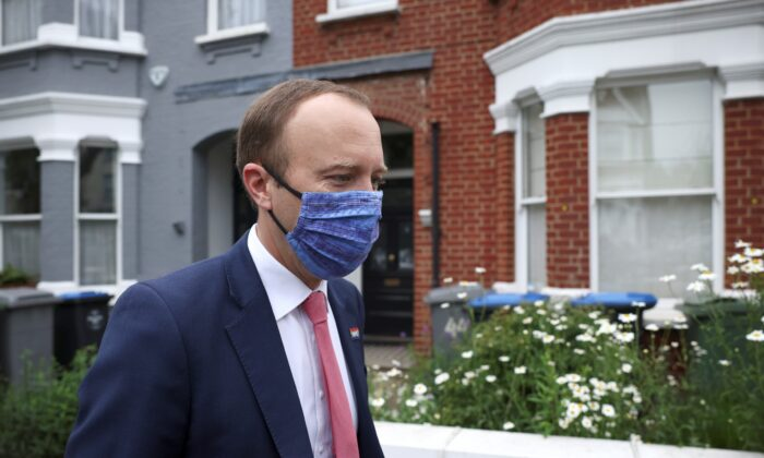 Britain's Health Secretary Matt Hancock leaves his house, in London, Britain, on June 17, 2021. (Henry Nicholls/Reuters)