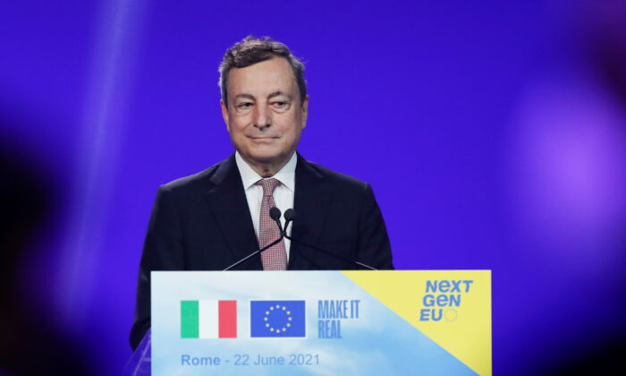 Italian Prime Minister Mario Draghi attends a joint news conference in Rome, Italy, on June 22, 2021. (Remo Casilli/Reuters)