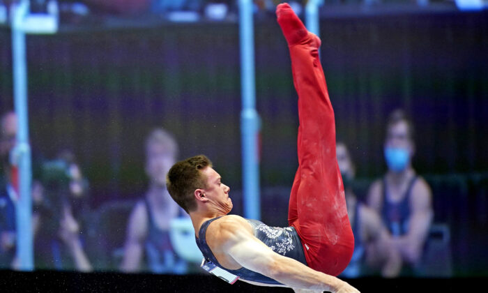 Brody Malone competes on the parallel bars during the U.S. Olympic Team Trials in St. Louis, Mo., on June 24, 2021. (Grace Hollars/USA TODAY Sports via Reuters)