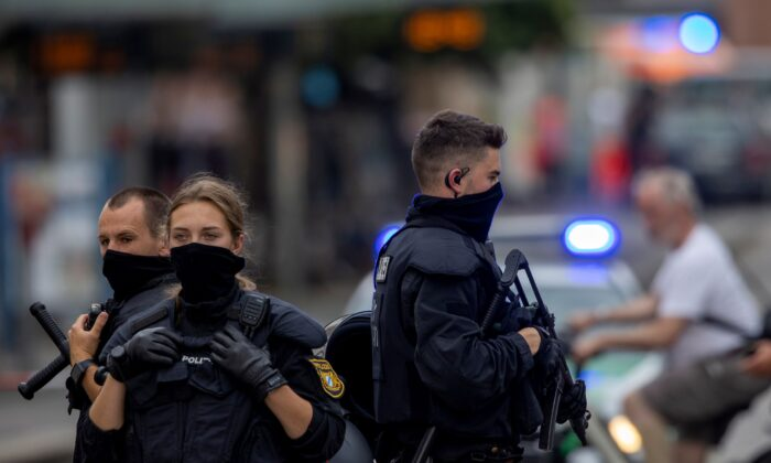 Police secures the area in the German town of Wuerzburg, Germany, on June 25, 2021. (Heiko Becker/Reuters)