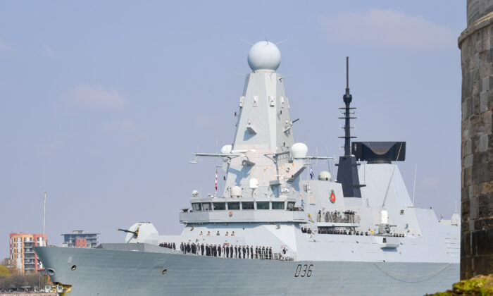 The HMS Defender leaves Portsmouth, United Kingdom, on May 1, 2021. (Finnbarr Webster/Getty Images)
