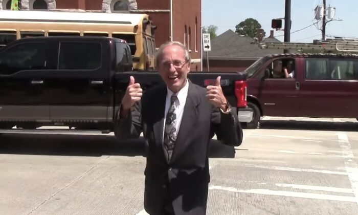 Garland Favorito outside Henry County Superior Court after winning a victory in a suit to allow an audit of Fulton County's November 2020 election, in McDonough, Ga. on May 21, 2021. (Screenshot Nydia Tisdale/The Epoch Times)
